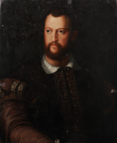 After Agnolo Bronzino, 17th Century Portrait of Cosimo de' Medici (1519-1594), half-length, in a burgundy embroidered coat unframed