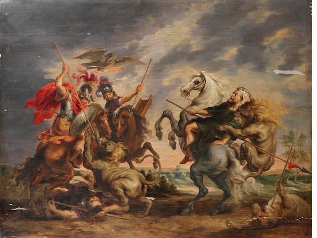 Attributed to Simon de Vos (Antwerp 1603-1676) A lion hunt unframed