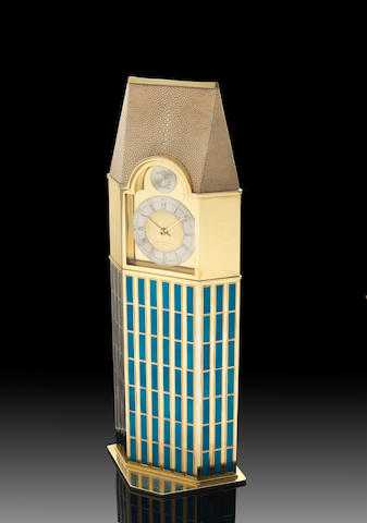 GERALD BENNEY: A unique impressive silver-gilt and enamelled 'skyscraper' timepiece London 1992