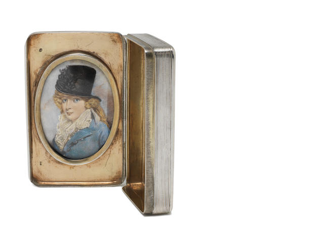 A 19th century Dutch silver snuff box with inset miniature of a lady possibly by Andries Claassen, Amsterdam 1823 and a 19th century Austro-Hungarian silver coaster, (2)