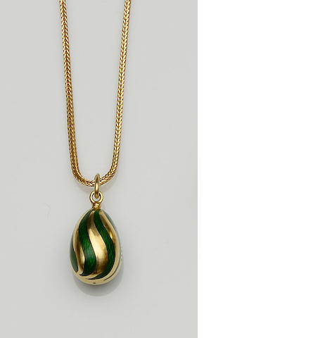 A modern Fabergé egg pendant on chain