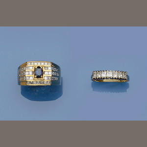 A sapphire and diamond dress ring and a diamond half hoop ring (2)