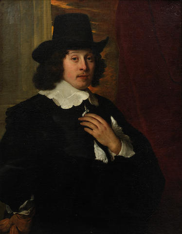 Jacob Adriaensz. Backer (Harlingen 1608-1651 Amsterdam) Portrait of a gentleman, three-quarter-length, in a black tunic with a lace collar