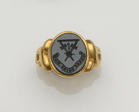 A bloodstone signet ring