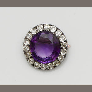 A Victorian amethyst and diamond brooch