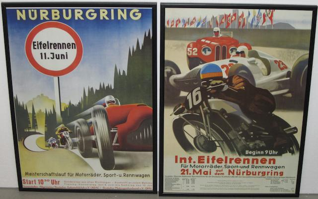 Six reprinted Nurburgring posters,