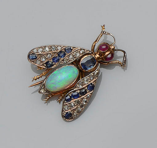 A Victorian vari gem-set insect brooch
