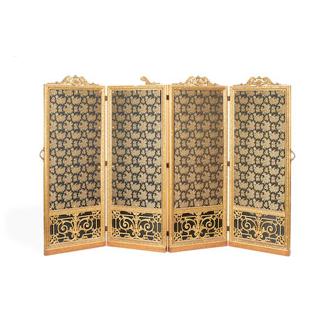 A French late 19th century giltwood and composition four panel screen in the Regence style