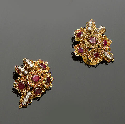 A pair of diamond and ruby set earclips, circa 1950