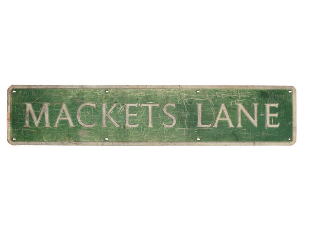 George Harrison: an original Mackets Lane, Liverpool, street sign,