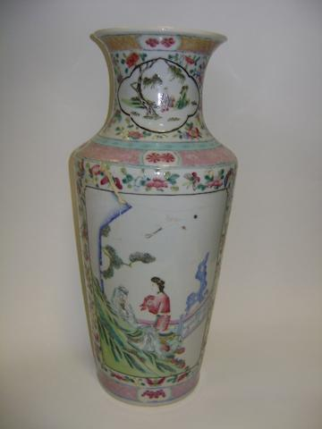A famille rose tapering, cylindrical vase Qianlong six-character mark
