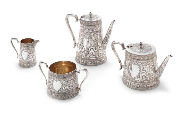 1887 A London silver  four piece tea and coffee service by John Newton Mappin, London 1887  (4)