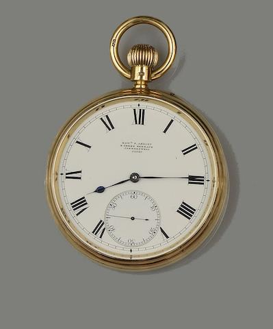 Edward Ashley, Clerkenwell: An 18ct gold open face pocket watch