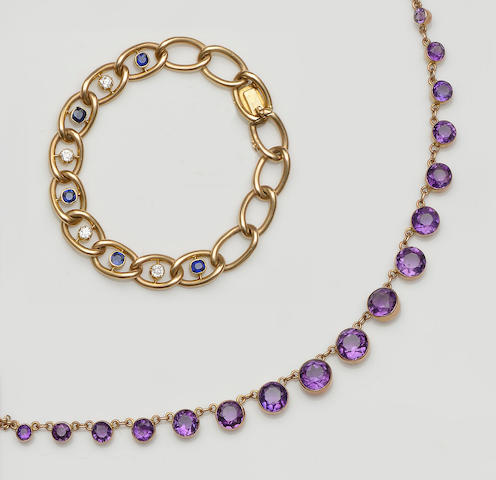 A sapphire and diamond bracelet and an amethyst necklace (2)