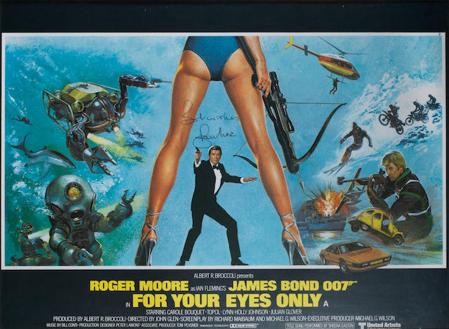Roger Moore as James Bond: An autographed For Your Eyes Only poster, Eon/ United Artists, 1981,