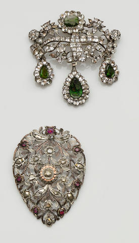 A Georgian paste brooch, and a Continental antique ruby and diamond brooch (2)