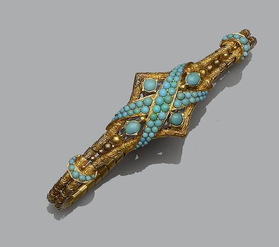 A Victorian turquoise set bracelet