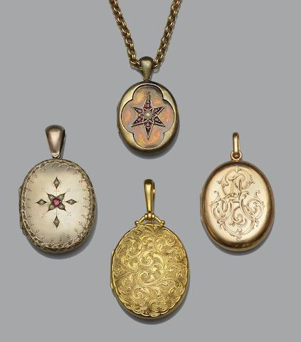 A collection of Victorian and later locket pendants (6)