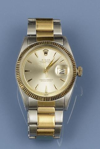 Rolex: A gentleman's stainless steel Datejust automatic calendar wristwatch