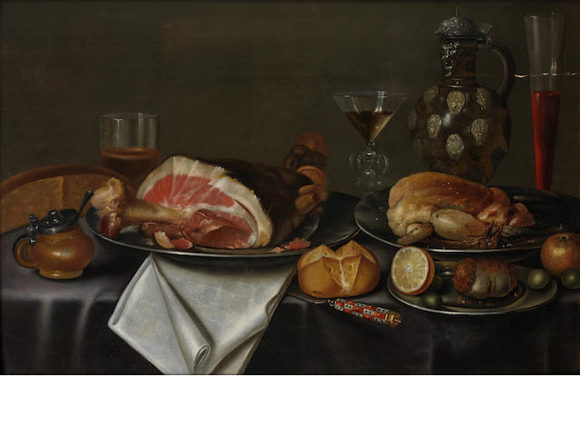 Alexander  Adriaenssen the Elder (Antwerp 1587-1661) A still life with a ham