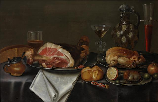 Alexander  Adriaenssen the Elder (Antwerp 1587-1661) A still life with a ham