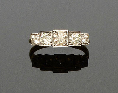 An Art Deco style diamond five stone ring
