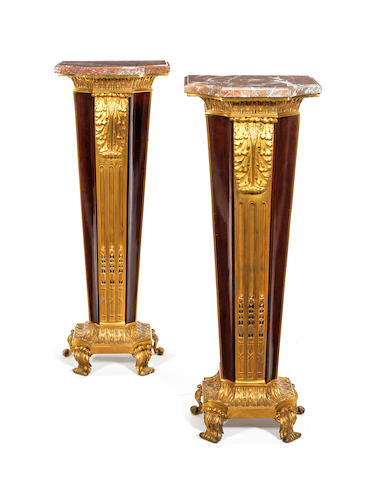 A pair of French late 19th century ormolu-mounted mahogany pedestals