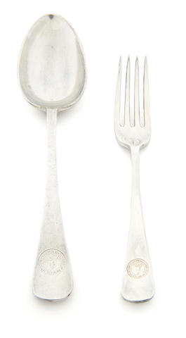 TERRA NOVA An electroplated silver dessert spoon and a fork by Walker & Hall, (2)