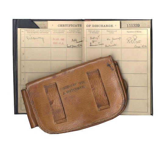 WATERMAN (JOHN WILLIAM, A.B.) Private log of Able Seaman Waterman in S.S. Discovery..., 1901-1904; with his tool pouch and a certificate signed twice by Captain Scott
