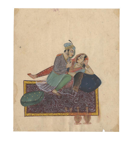 INDIAN MINIATURE PAINTING A collection of upwards of 30 miniature paintings, the majority erotic