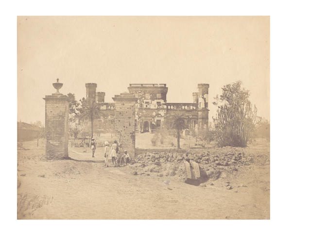 LUCKNOW BEATO (FELICE) Two views of military quarters in Lucknow, [c.1858]