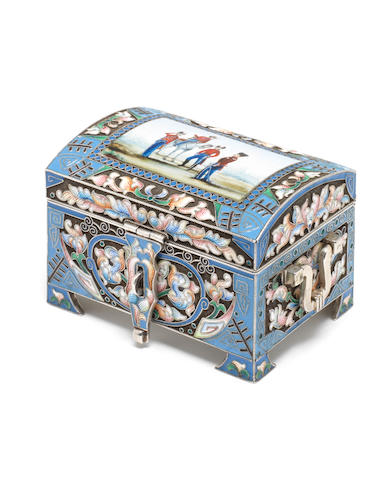 A metalware and enamelled casket with pseudo Russian marks similar to those of the Third Artel