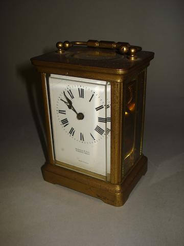 A French brass cased carriage timepiece,