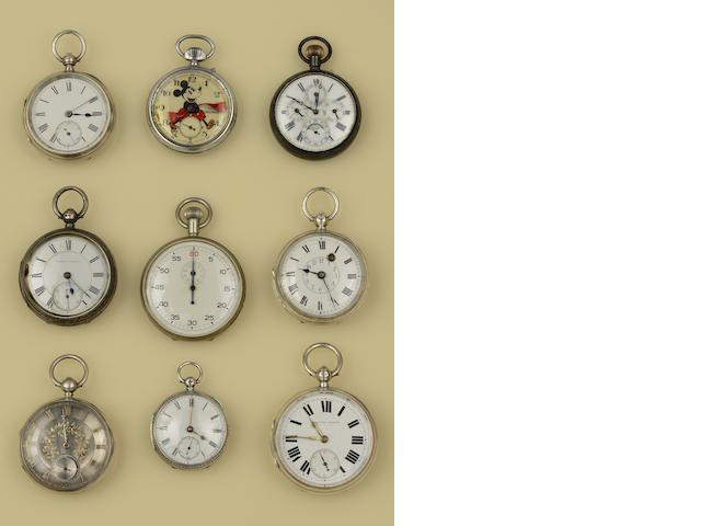 A collection of eleven 19th century and later open face pocket watches, and a stop watch(12)