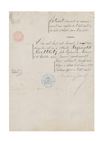 "PERSONAL PAPERS, The personal papers of Reginald Koettlitz, comprising his birth certificate, naturalisation certificate, signed by Herbert Asquith, Secretary of State at the time, his marriage certificate and will, together with an empty personalised ledger, with ""Reginald Koettlitz"" in gilt on upper cover, reverse calf, folio, [c.1900]; and National Antarctic Expedition 1901-1904, Natural History. Geology (Field Geology: Petrography, vol. 1., rodent damage to one corner, quarter reverse calf, folio, The British Museum, 1907(small quantity)"