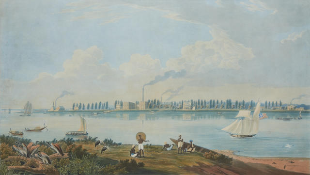 "CALCUTTA ""View of the Works at Fort Closter, on the River Hooghly About 15 Miles below Calcutta"", by Havell after Carr, c.1820"
