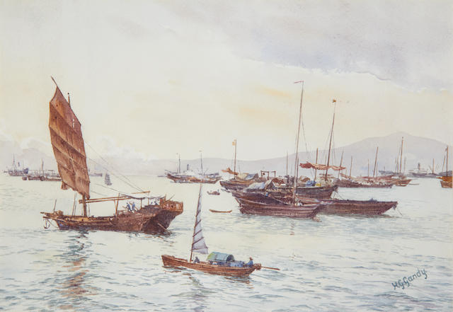 HONG KONG GANDY (HENRY GEORGE) Junks in Hong Kong harbour, watercolour, [twentieth century]