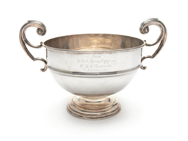 SCOTT (ROBERT FALCON) An Edward VII silver rose bowl, PRESENTED BY THE OFFICERS OF HMS BULWARK TO ROBERT AND KATHLEEN SCOTT ON THE OCCASION OF THEIR MARRIAGE, 1908