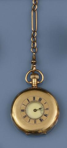 A 9ct gold half hunter pocket watch, by Waltham, and an Albert chain (2)