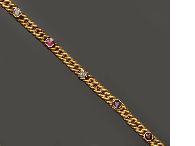 A vari gem-set bracelet