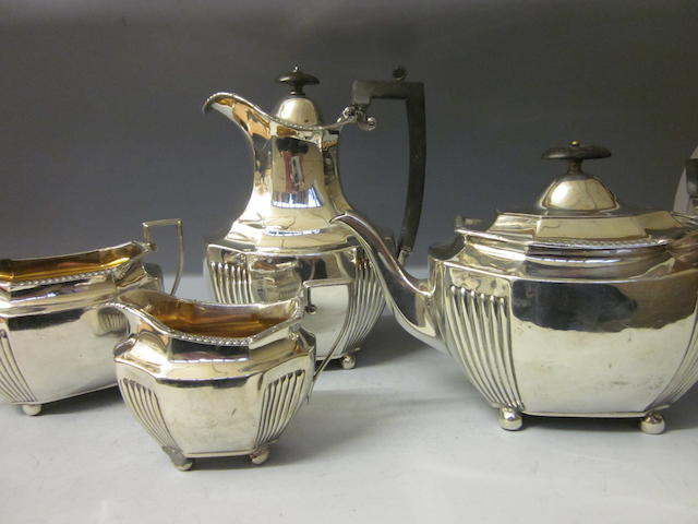 A Victorian four piece silver tea service, by Walter and John Barnard London 1892  (4)