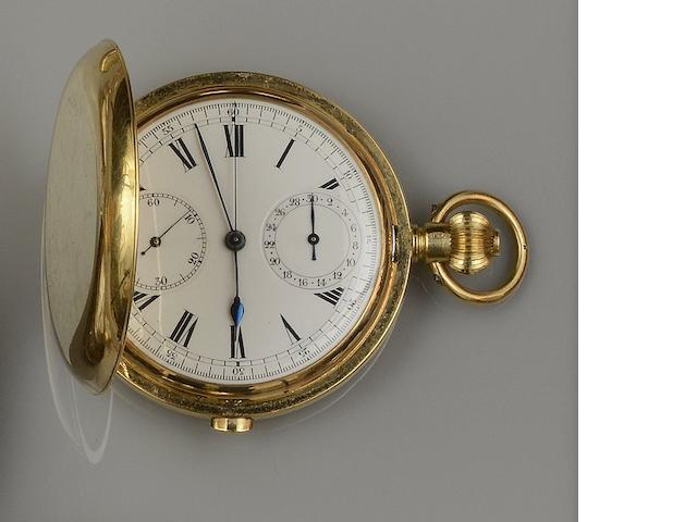 An 18ct gold hunter manual wind chronograph pocket watch