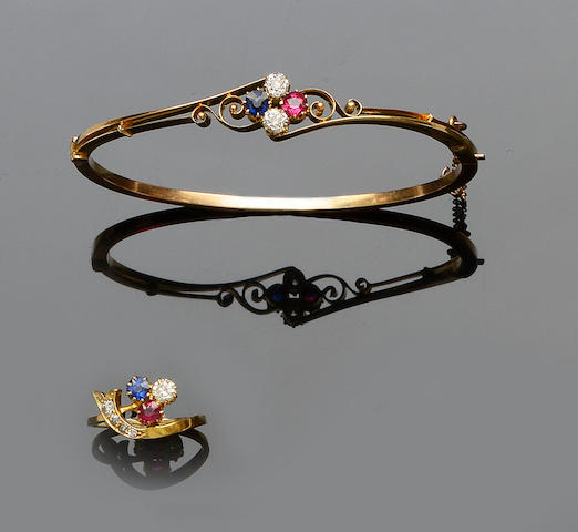 A ruby, sapphire and diamond bangle and matched ring (2)
