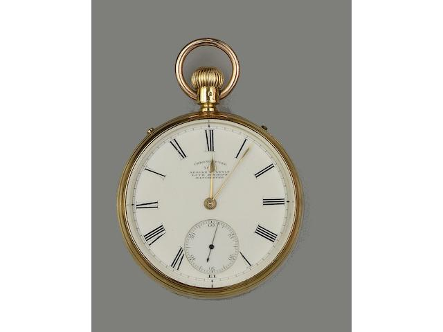 An 18ct gold open face pocket chronometer