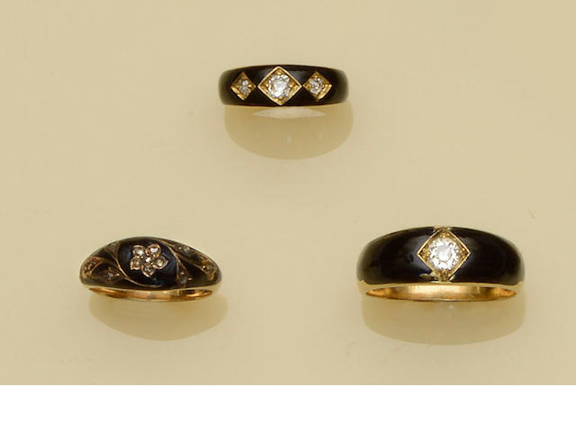 Three diamond set mourning rings (3)