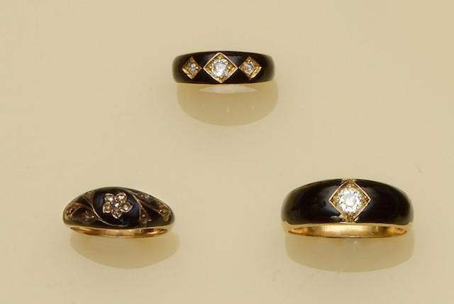 Three diamond set mourning rings (3)