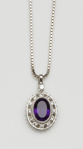 An amethyst and diamond cluster pendant