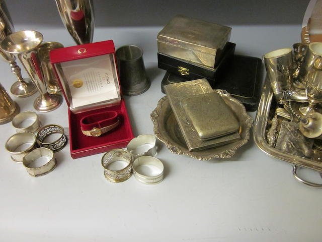 A silver cigarette box, E. Viner  Sheffield 1964,  (Qty)