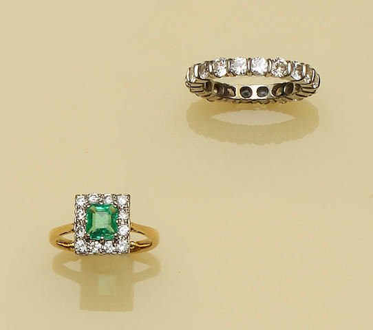 An emerald and diamond cluster ring and a diamond eternity band (2)