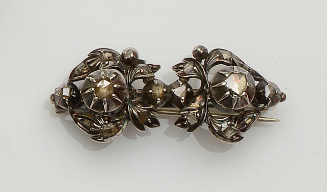 A rose-cut diamond brooch
